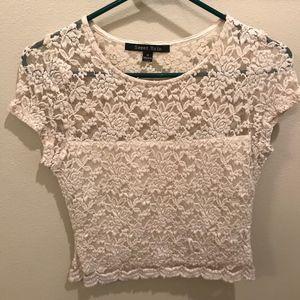 Lace creme crop top